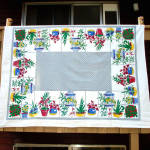 Click here to enlarge image and see more about item 9542-3: Startex Houseplants Vintage Cotton Tablecloth 67 by 52