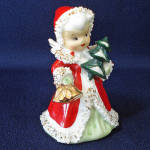 Click here to enlarge image and see more about item 9542-6: Lefton Christmas Angel Bell With Tree Figurine