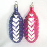 Pink and Purple Vintage Cone or Pod Glass Christmas Ornaments