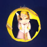 1960s Angel in 3-D Flocked Christmas Ball Ornament