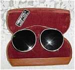 Click here to enlarge image and see more about item 963: Old Clip-On Wire Frame Sunglasses in Leatherette Velvet Case