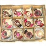Box Poland Mica Flower Indent Glass Christmas Ornaments