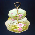 Lefton Heritage Green Rose 2 Tier Tidbit Tray Server