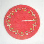 Beaded Red Felt Miniature 5 Inch Christmas Tree Skirt