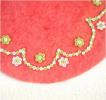 Click to view larger image of Beaded Red Felt Miniature 5 Inch Christmas Tree Skirt (Image3)