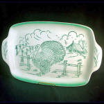 Click here to enlarge image and see more about item 9747: Bell of California 1950s Pottery Turkey Farm Scene Platter