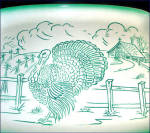 Click to view larger image of Bell of California 1950s Pottery Turkey Farm Scene Platter (Image2)