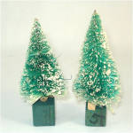 Pair Japan Snow Flocked 4 Inch Christmas Bottle Brush Trees
