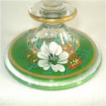 Click to view larger image of 1930s Indiana Glass Candlestick Enamel Dogwood Decoration (Image2)