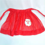 Click here to enlarge image and see more about item 9828: Child's Sheer Red Christmas Santa Claus Apron