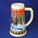 Click here to enlarge image and see more about item 9832-3: Budweiser 1993 Annual Christmas Stein Hometown Holiday