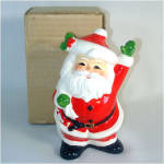 Click here to enlarge image and see more about item 9833: Waving Santa Claus Christmas Coin Bank in Original Box