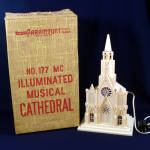 Click here to enlarge image and see more about item 9840-3: Paramount Raylite 1950s Musical Lighted Christmas Church In Box