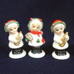 3 Bone China Miniature Christmas Girl Figurines
