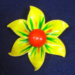 Click here to enlarge image and see more about item 9840-5: Yellow, Orange, Green 1960s Enameled Flower Power Brooch Pin