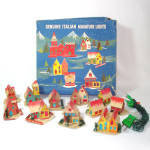 Click here to enlarge image and see more about item 9863-2: Italian Cardboard Lighted Christmas Putz Village Set In Box