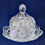 Click here to enlarge image and see more about item 9912-2: Avon by Fostoria Round Glass Butter Dish