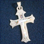 Click to view larger image of Sterling Silver and Abalone Inlay Cross Pendants With Mother of Pearl Heart (Image3)