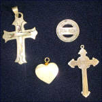Click to view larger image of Sterling Silver and Abalone Inlay Cross Pendants With Mother of Pearl Heart (Image7)