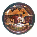 Click here to enlarge image and see more about item 9929: Copper Egyptian Spinx and Pyramids Wall Charger Plate