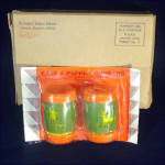 Click here to enlarge image and see more about item 9962: Plastic Indian School TomTom Drum Salt Pepper Shakers Mint in Box