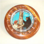 Click here to enlarge image and see more about item 9965: Yellowstone Park Souvenir Glass and Wood Picture Ashtray