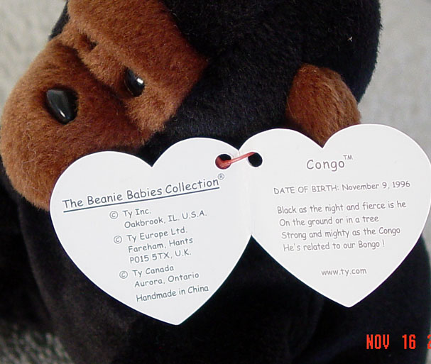 7d26d091899 Reading Ty Congo the Gorilla Beanie Baby 1996-98 Ty Beanie Babies at  Donna s Korner
