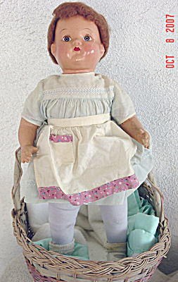 Vintage Composition And Stuffed Antique Baby Doll