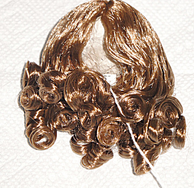 Light Brown Curls Wig For 3.5-5 In. Heads, 7-10 In. Dolls