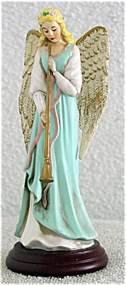 Enesco Blue Angel with Flute Musical Figurine 1994 (Image1)