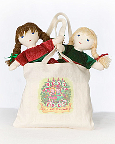 Lennon Sisters 2 Mini Best Pals Christmas Rag Dolls In Bag