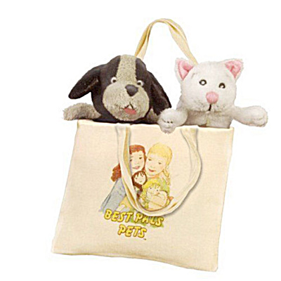 Lennon Sisters Mini Stinky Pup and Mitty Kitty in Tote Bag (Image1)