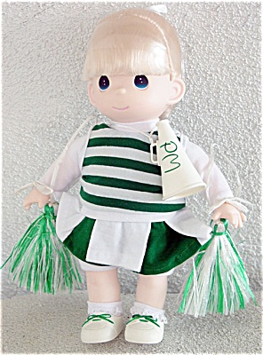 Precious Moments Blonde Cheerleader Doll in Green 1998 (Image1)