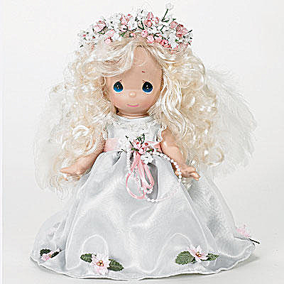 Precious Moments Such An Angel Blonde Doll In Green