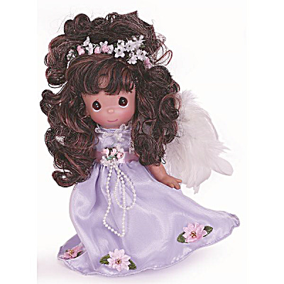Precious Moments Such An Angel Brunette Doll In Lavender, 2014