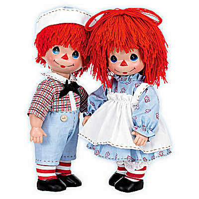 Precious Moments Timeless Traditions Raggedy Girl, Boy Doll Set