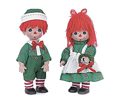 Precious Moments Raggedy Wishes  Holiday Girl, Boy Doll Set (Image1)