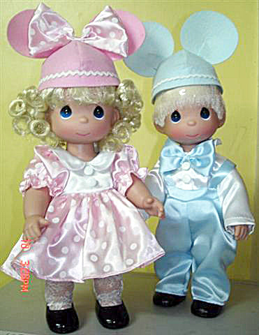 Precious Moments Precious In Pink Blonde Minnie, Mickey Dolls