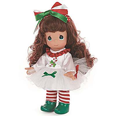 Precious Moments 9 In. Candy Cane Wishes Brunette Doll