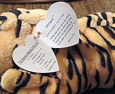 00550811eff Ty Stripes The Yellow-orange Tiger Beanie Baby 1996