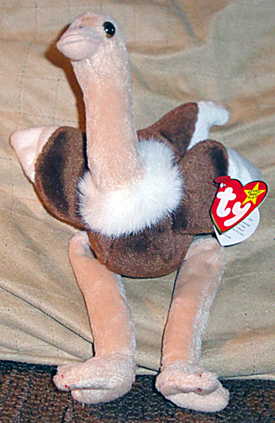 Ty Stretch The Ostrich Beanie Baby Bird, 1997-1999