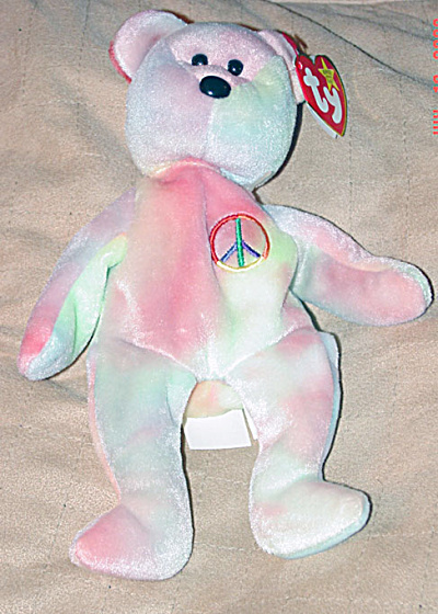 Ty Pastel Tie-Dyed Peace the Teddy Bear Beanie Baby 1998 (Image1)