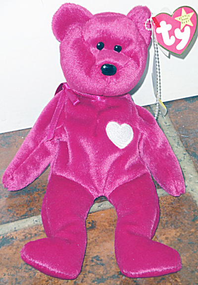 Ty Valentina Magenta Red Bear with White Heart Beanie (Image1)