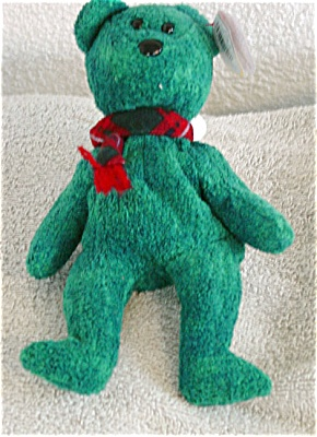 Ty Wallace Green Flocked Bear Scotch Beanie Baby 1999 (Image1)
