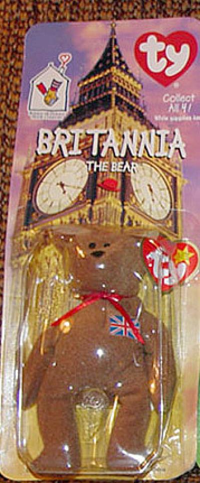 Ty Teenie Beanie Baby Britannia British Bear, McDonald's 1999 (Image1)