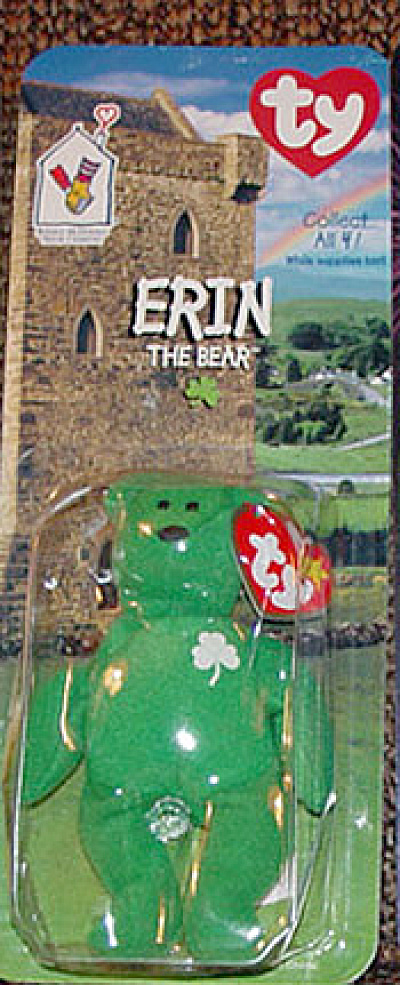 Ty Teenie Beanie Baby Erin Irish Bear, Mcdonald's 1999