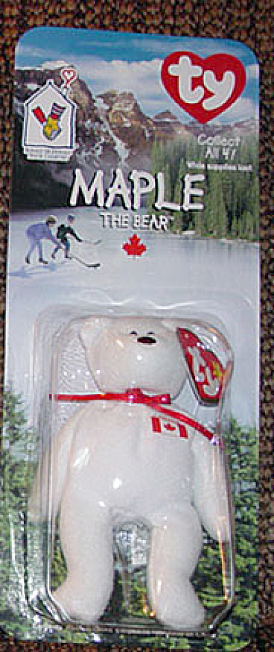 Ty Teenie Beanie Baby Maple Canadian Bear, Mcdonald's 1999