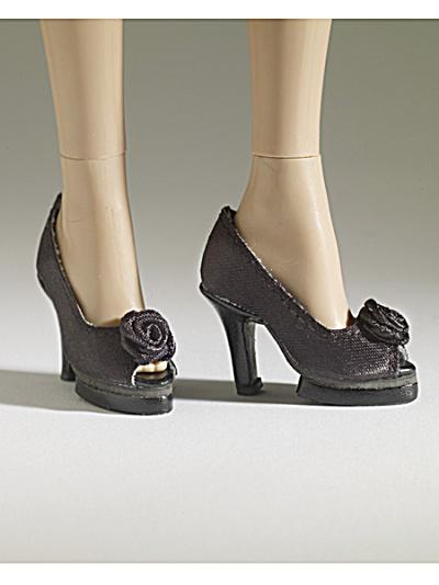Tonner Nu Mood Black Satin High Heel 5 Doll Shoes 2012 (Image1)