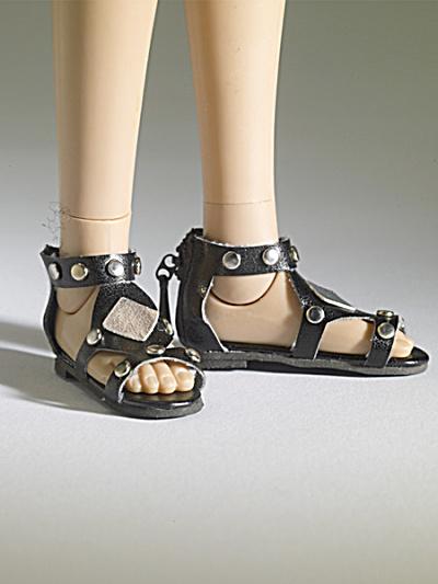 Tonner Nu Mood Black Sandals Flat 2 Doll Shoes 2012 (Image1)