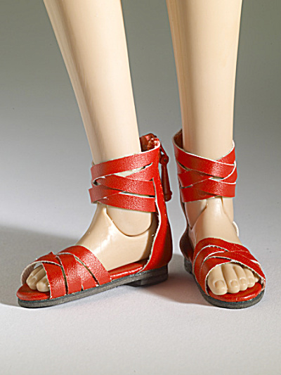 Tonner Nu Mood Red Sandals Flat 4 Doll Shoes 2012 (Image1)